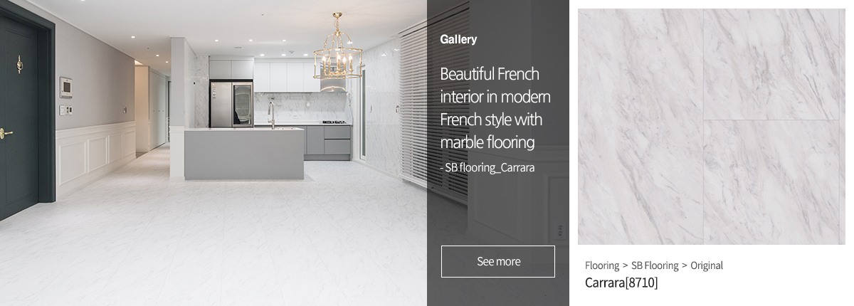 Beautiful French interior in modern French style with marble flooring
