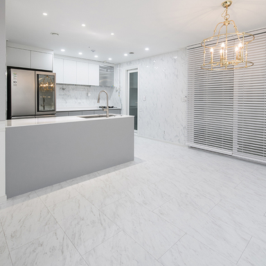 Beautiful French interior in modern French style with marble flooring (Hansol SB flooring).