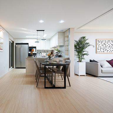 White modern interior decorated with warm and soft Hansol SB Flooring