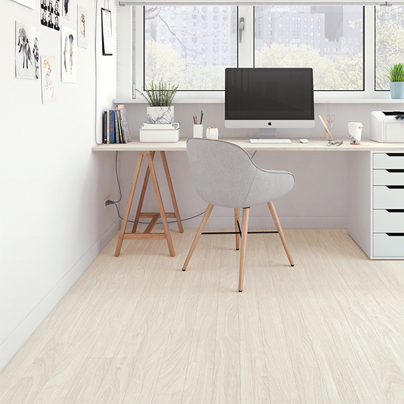 White color and clean wood texture create completely clean space.